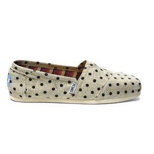 TOMS polka dot hemp burlap slip on shoes classics